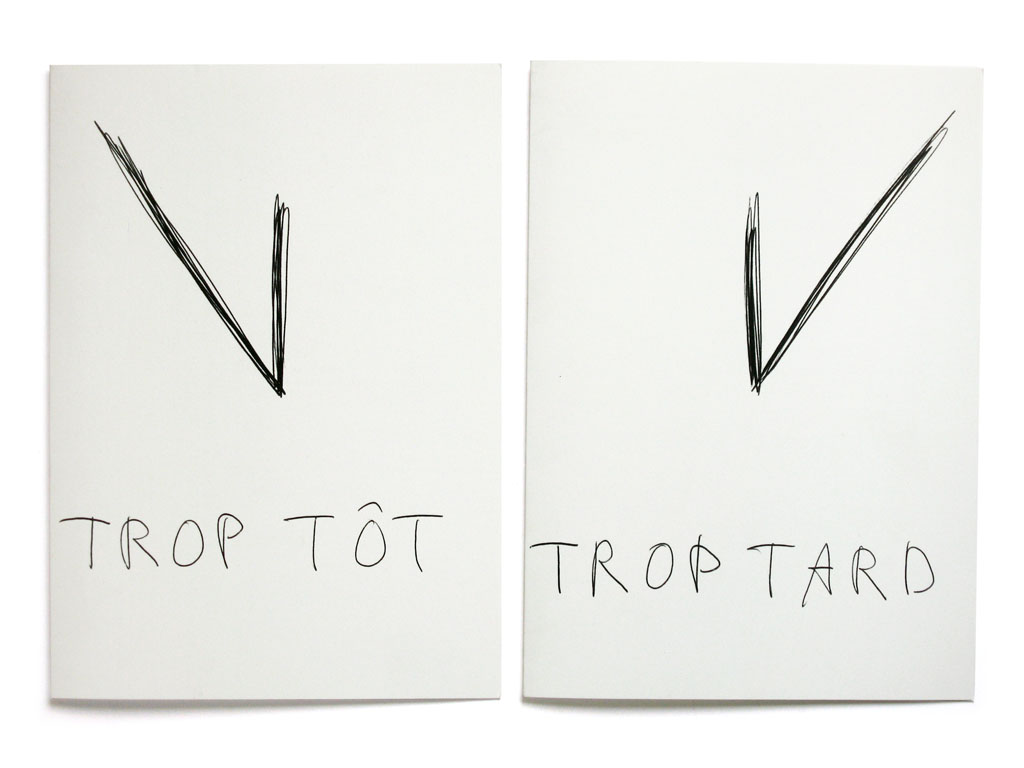 Claude Closky, 'Trop tôt, trop tard [Too Soon, Too Late]', 2005, Paris: Ecole Nationale Supérieur des Beaux-Arts de Paris, 2006 greeting cards. Black offset, 21 x 15 cm each.